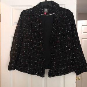 NWT Vince Camuto tweed jacket black raw edge sz 1X